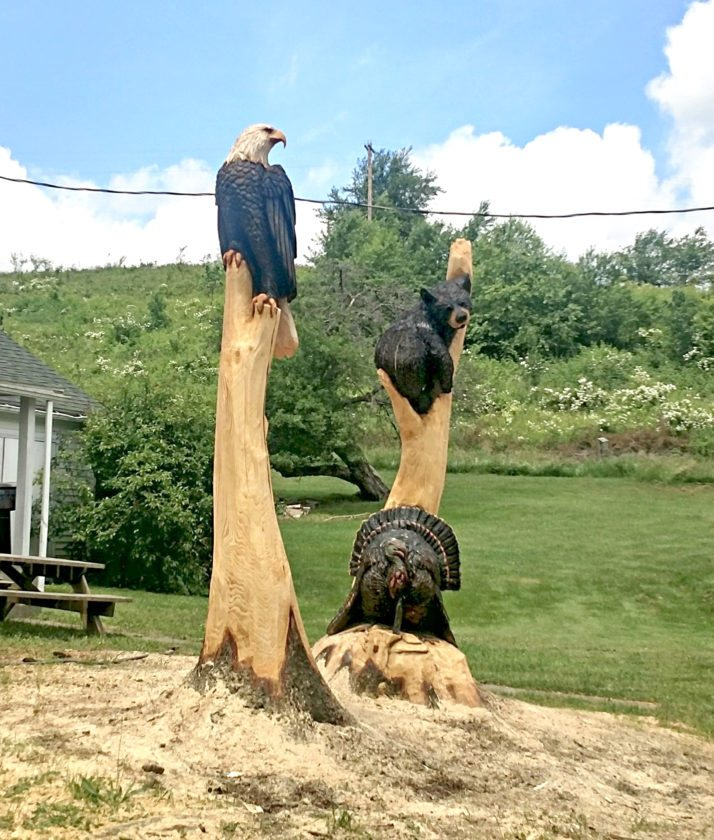 Submitted Photo. Pictured is a stump carving at a residence on Irwin Road in the town of Cherry Creek. City of Dunkirk officials are looking to take inspiration from the carving to address some of the dead trees in Point Gratiot Park in a unique way.