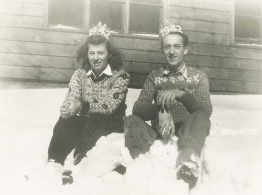 "Photo courtesy State University of New York at Fredonia King and Queen at the snowy ""College Camp"" in Brocton, in 1942."