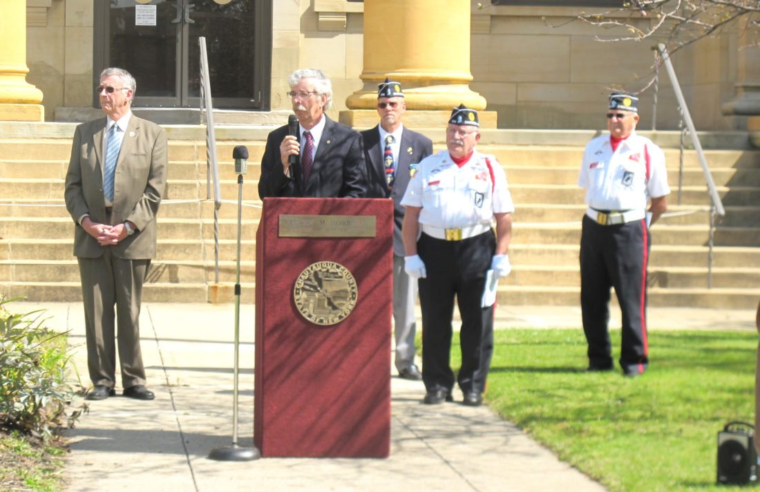 Photo by Gavin Paterniti A 9/11 remembrance ceremony, hosted by the Chautauqua County American Legion and the Chautauqua County Veterans Council, was held at the Chautauqua County Courthouse. Assemblyman Andy Goodell speaks as County Executive Vince Horrigan and veteran officials look on.