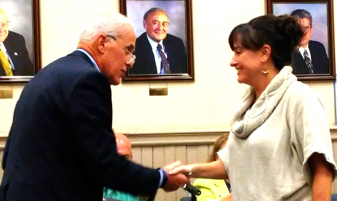 OBSERVER Photo by Damian Sebouhian Catherine Creeley (right) was appointed as trustee for the village of Fredonia during Wednesday's meeting. She was sworn in by Fredonia administrator Richard St. George.