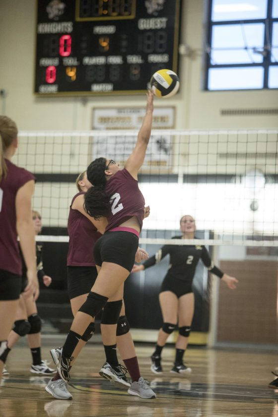 OBSERVER Photo by Joe Conti Dunkirk's Ashley Colon taps the ball over the net during a match against Silver Creek.