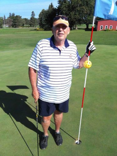 Submitted Photo Tom McTigue carded a hole in one on the 163 yard first hole at the Vineyards Golf Course. McTigue has been playing golf for 50 years and this was his first hole in  one. He used a 5 hybrid for his ace. McTigue was playing with Bob Welch, Dan Allesi, and Phil Kleeberger when he holed his ace.