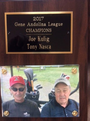 Submitted Photo ANDOLINA WINNERS: The Gene Andolina Friday Morning League held its end of the year play day followed by a banquet at the Beaver Club. The league consists of 21 two-man teams. This year's champions are Joe Kulig (left) and Tony Nasca.