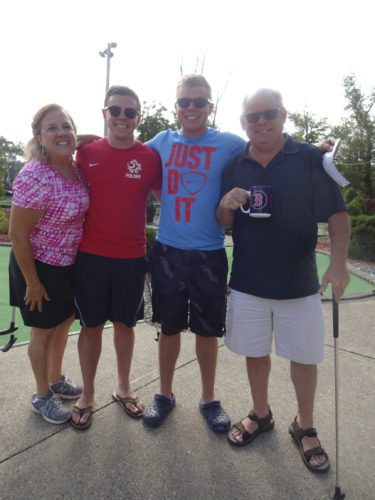 "The winning team in the mixed category for the Rotary Club of Westfield-Mayville's ""PolioPlus Challenge"" Charity Miniature Golf Tournament was The Mayville Frogs. Team members were (left to right) Judy, Michael, Joey and Jim Parker of Mayville. This charity event was held on Aug. 19 at Webb's Miniature Golf."