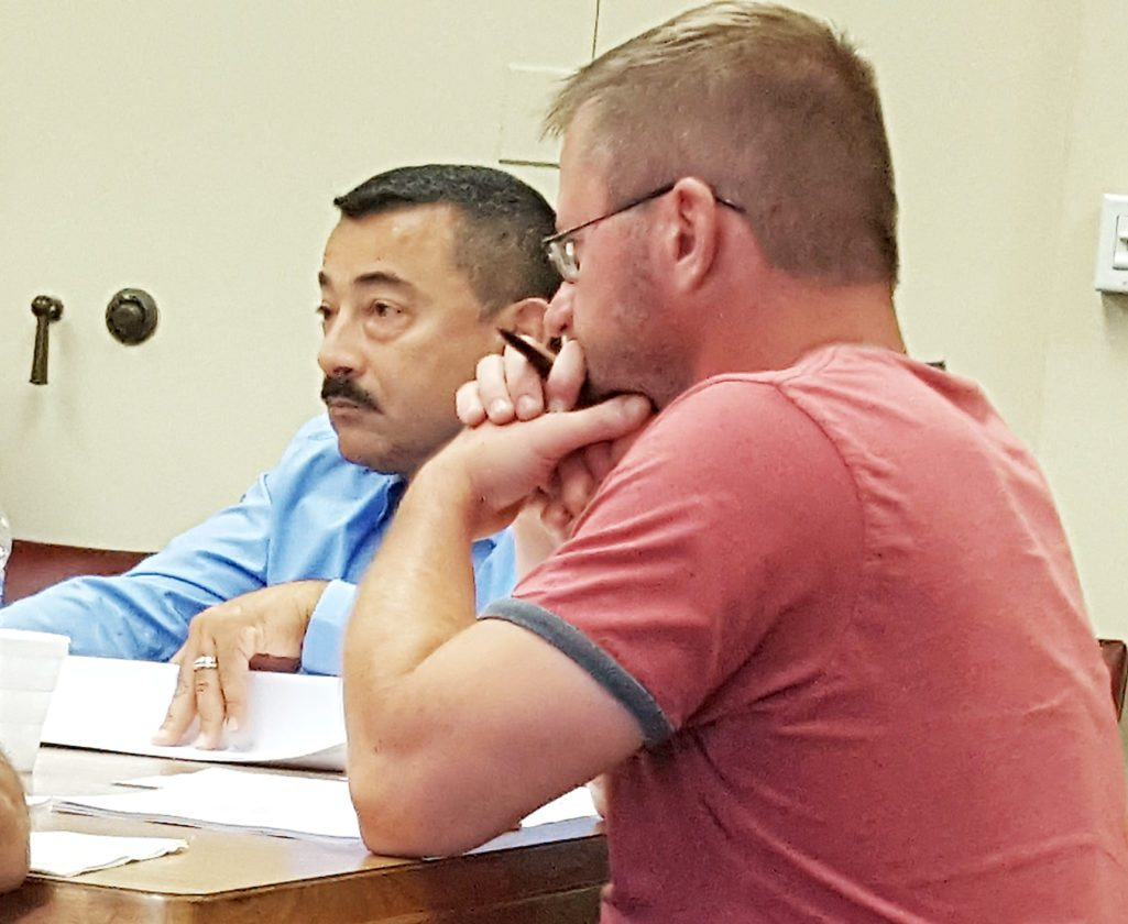 OBSERVER Photo by Nicole Gugino Dunkirk Mayor Willie Rosas tells the Finance Committee of budget uncertainties surrounding the city's transition aid associated with NRG's reduced PILOT payment. Also pictured is Councilman-at-Large Andy Woloszyn.