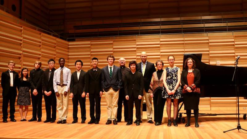 Submitted Photo Above, ten finalists with judges at Inaugural Claudette Sorel Piano Competition in the Juliet J. Rosch Recital Hall, State University of New York at Fredonia
