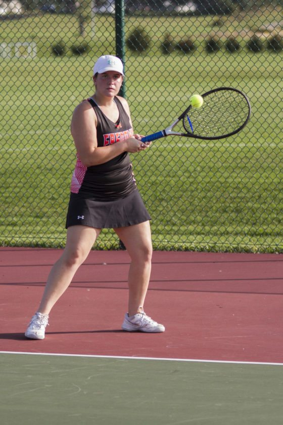 OBSERVER Photo by Mary Ann Wiberg Fredonia's Kelsey Vianese returns a shot during Wednesday's tennis match against Southwestern.