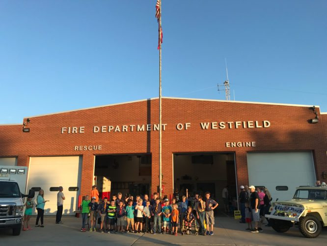 Submitted Photo On Sept. 14 the Fire Department of Westfield opened its doors for Cub Scout Pack 201 to sign up new and returning scouts. Second Assistant Chief Chris Reese of the Westfield Fire Department welcomed the scouts to the Fire Hall, and pledged the support of the department to advance this worthwhile organization. Assistant Cub Master Chris Anderson said 11 new scouts were signed up, as well as 30 returning scouts. Anderson said the mission of the Cub Scouts is to teach young boys to be responsible, to always work on improving themselves, and to be their best at all times. On behalf of the Cub Scouts Anderson expressed his gratitude to the Westfield Fire Department for providing the fire hall for sign-ups. Second Assistant Chief Reese said the Fire Department was pleased to host such a great group of kids, and wished them all the best in the future.