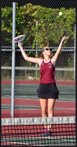 Submitted Photo Dunkirk's Hannah Saye serves during the Lady Marauders' girls tennis match against Frewsburg on Friday.