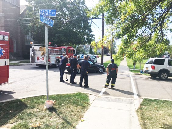 OBSERVER Photo Dunkirk police and firefighters were on the scene of a motor-vehicle accident at Eagle and West Sixth streets around 2:15 p.m. No injuries were reported but two vehicles sustained damage.