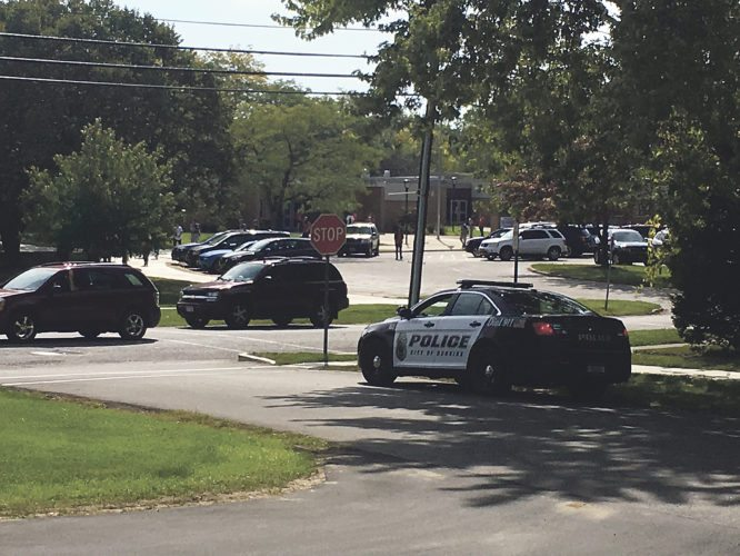 OBSERVER Photo A Dunkirk patrol car watches over dismissal at Dunkirk High School on Friday afternoon.