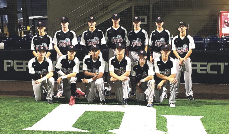 Submitted Photo Lake Erie Lugnuts at the Perfect Game Underclass Elite Tournament in Cartersville, GA.  Southwestern Central School sophomore Mitchell Pascarella is second row, third from the left and Dunkirk resident Peyton Ahlstrom is second row on the right end.
