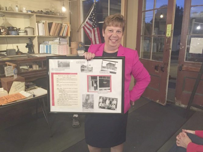 Shown is Brenda Cavallaro, Falconer Historian, giving a presentation of the history of Falconer at the Valley Historical Society in Sinclairville.