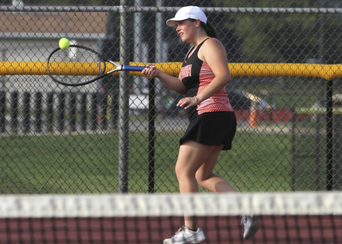 OBSERVER Photo by Lisa Monacelli Fredonia's Kelsey Vianese returns a shot during her match against Dunkirk's Hannah Saye Monday at the Dunkirk High School tennis courts.