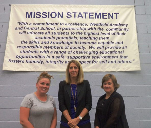 Photo by David Prenatt Westfield Academy and Central School Board of Education members welcomed four new teachers to the faculty. Pictured left to right are: Aryle Goss, pre-school special education: Amanda Wachter, first grade; and Jody Wilmarth, high school art. Not pictured is Susan Harris, high school special education teacher.