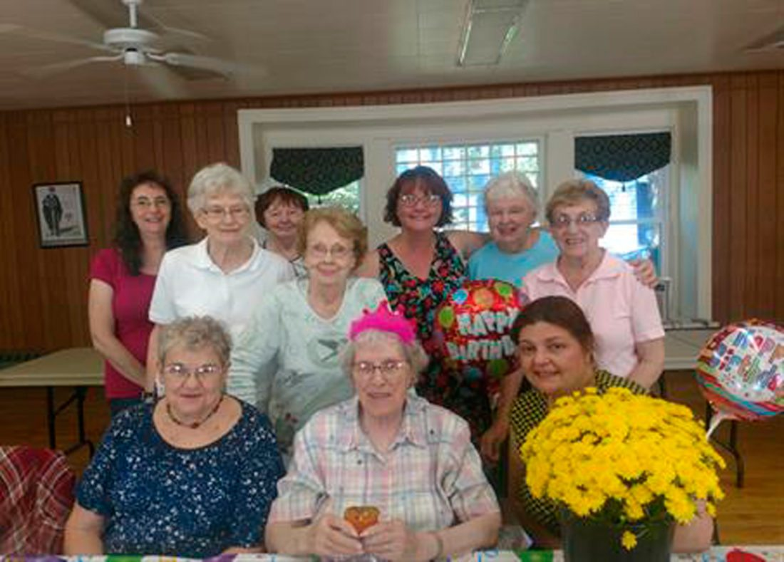 Submitted Photo Pictured from left to right: back row — Pam Raymond, Sylvia Colbey, Jean Young, Dolores Kaufman, Frankie Rothwell, Audrey Wilkinson, and Gerri Harper; and front row — Roselyn Davies, Birthday Girl: Lucile Inwood, and Kara Barone.