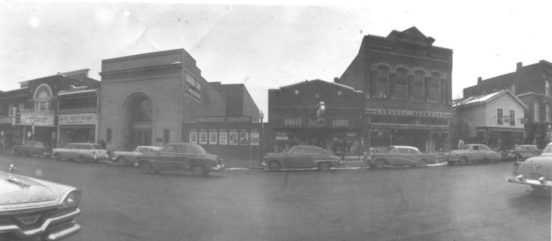 "Photo courtesy of the Gowanda Historical Society This photo of West Main Street in Gowanda was dated by the movies listed on the Hollywood Theater's marquee.  The movies were ""The Enemy Below"" starring Robert Mitchum, and ""Under Fire"" starring Rex Reason.  The year was 1957."