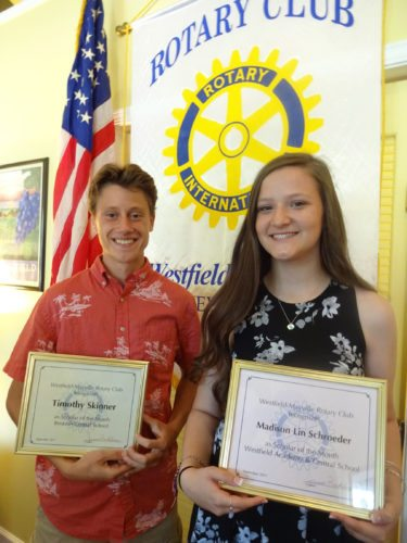 """Submitted Photo Timothy Skinner (left), a Brocton Central School senior, and Madison Lin Schroeder (right), a Westfield Academy & Central School senior, were recognized as """"Scholars of the Month"""" for September by the Rotary Club of Westfield-Mayville at its Sept. 26 meeting."""