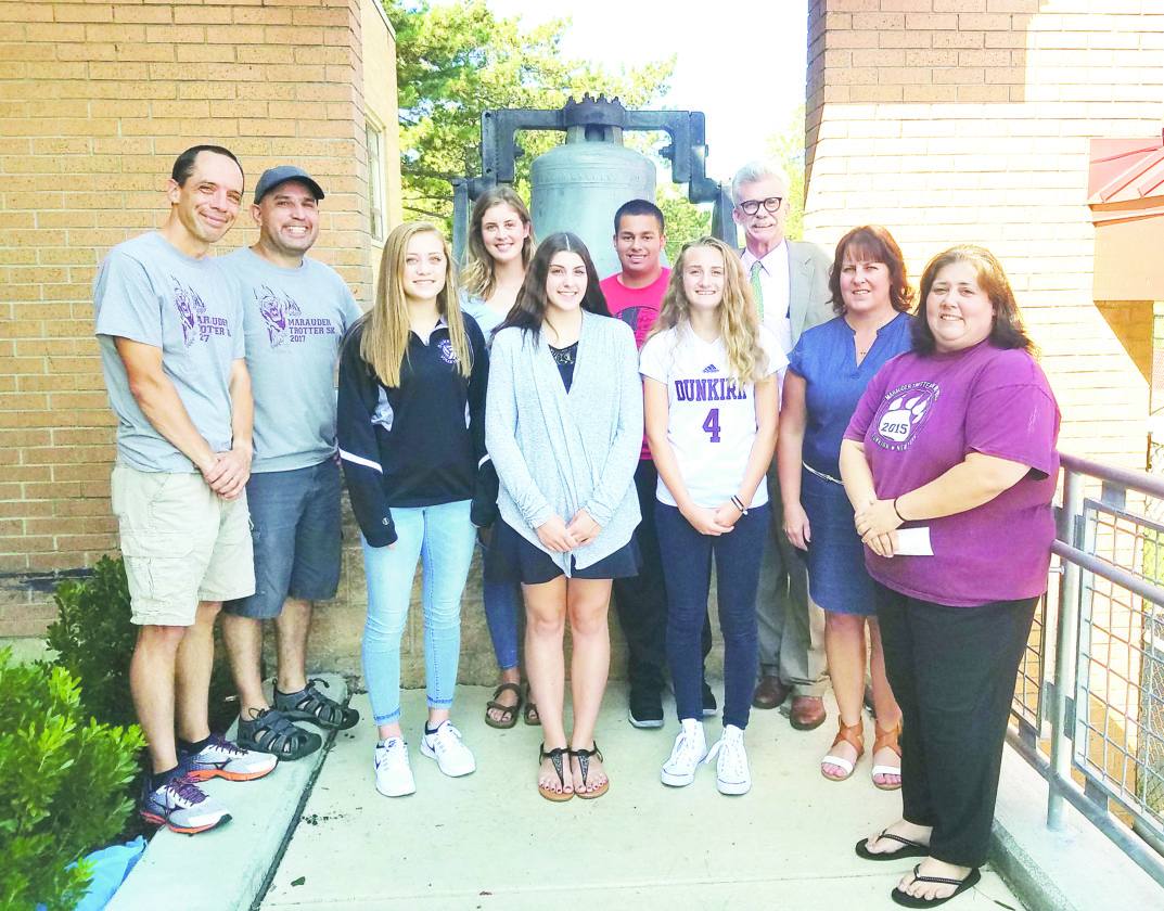 Submitted Photo Pictured in back from left are DJ Wilson, Scott Mekus, Marauder Trotter race directors; Madeline Gokey and Josue Rosario, Class of 2018 senior co-presidents; and Steve O'Brian, DHS principal. In front are Jessica Beehler, class of 2020 sophomore class president; Emily Baker, class of 2019 junior president; Mia Piede, class of 2021 freshmen president; and Molly Pagan and Terri Vasquez, Marauder Trotter basket raffle coordinators.