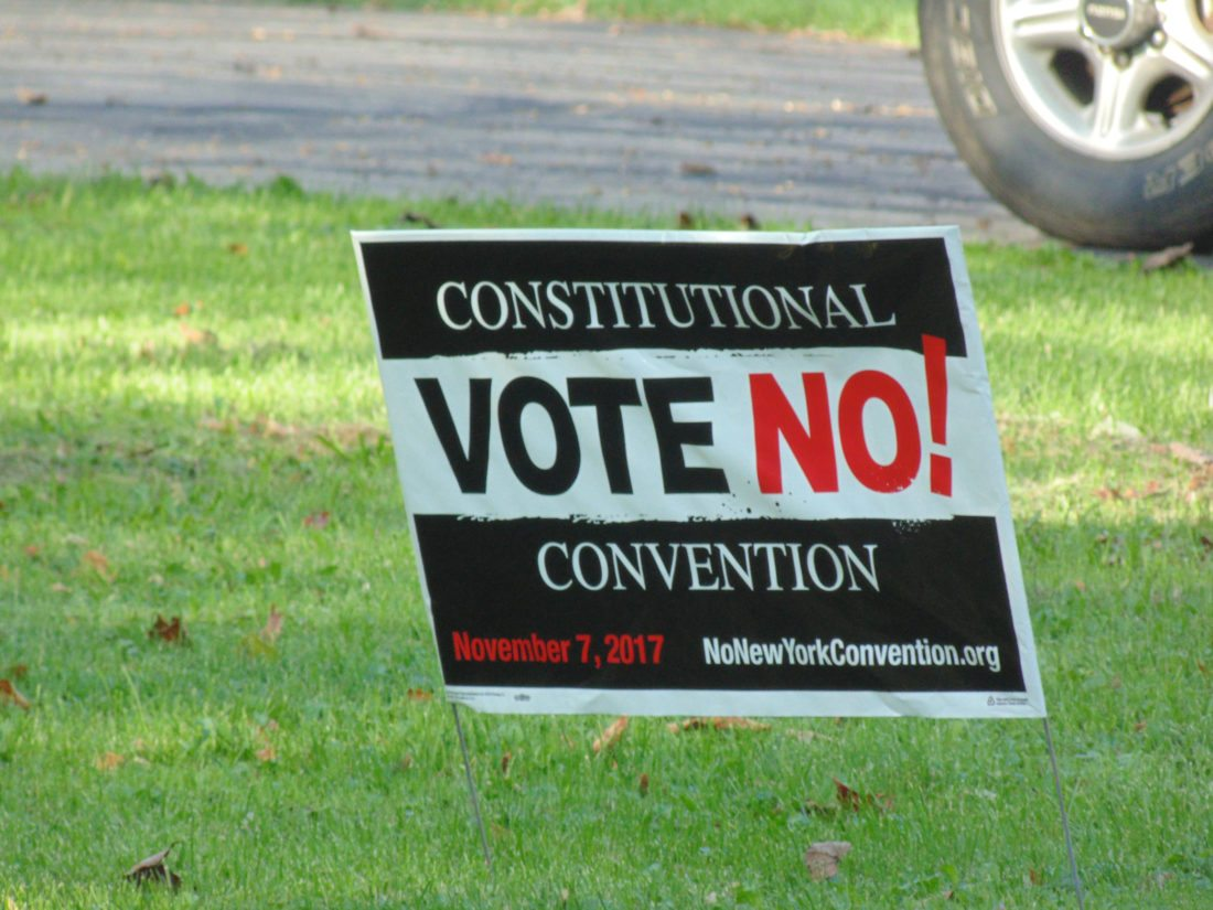OBSERVER photo by Jimmy McCarthy Political signs have popped up across the village of Fredonia, including this one regarding an item on the Nov. 7 ballot that pertains to a constitutional convention.