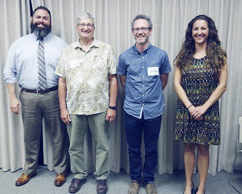 Submitted Photo: At Audubon Community Nature Center's recent Annual Dinner and Volunteer Recognition, pins were awarded to volunteers who achieved milestones in their total hours of recorded service and 2017-2018 board members were installed. Pictured are the new board members (from left): Tim Smeal, Timothy Piotrowski, Joe Rollman and Amber Grekalski.