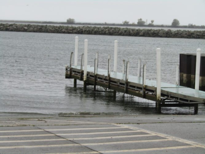 Photo by Gene Pauszek: The Lake Erie water level was visibly low at Chadwick Bay Marina on Wednesday afternoon.