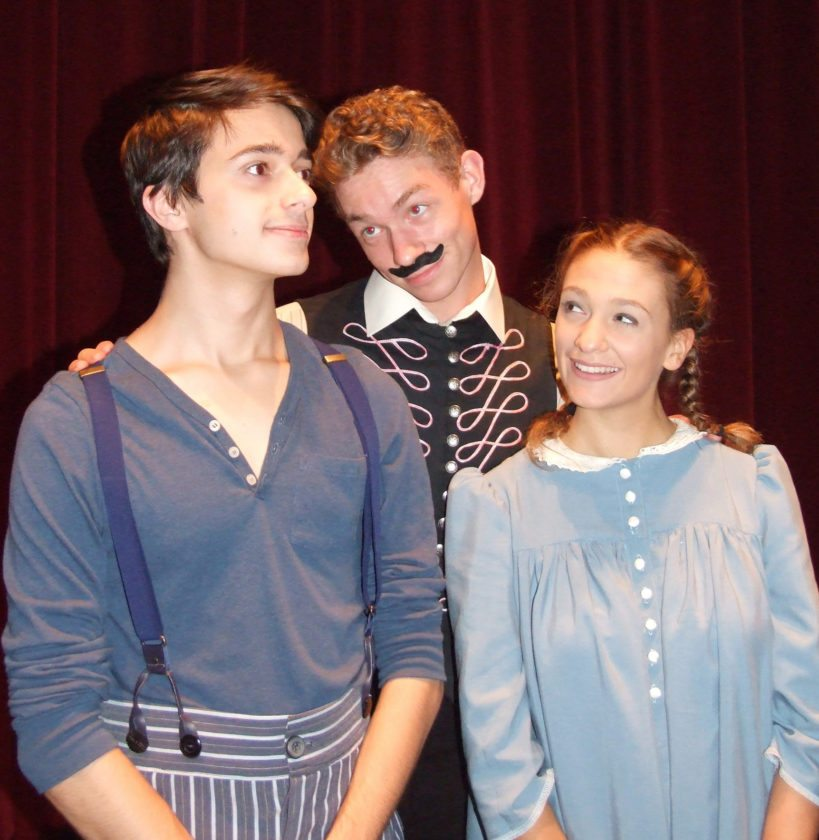 "Submitted Photo The Boy (Tyler Hecht), left, has the attention of both Black Stache (Jeff Kringer) and Molly (Carly Censi) in ""Peter and the Starcatcher."""