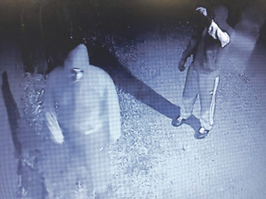 Submitted Photo Pictured is a screen shot from a surveillance camera of two men who are suspected to be involved in commercial burglaries in NorthCollins.