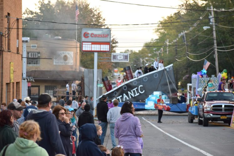 Viewers go in awe as the junior class at North Collins ride its Titanic float. The float had smoke, water jets out the side and nearly everything to match the movie.