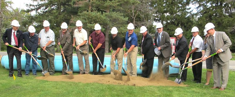 OBSERVER Photo by Damian Sebouhian Area officials and dignitaries break ground on the North Chautauqua County Water District in the town of Dunkirk.