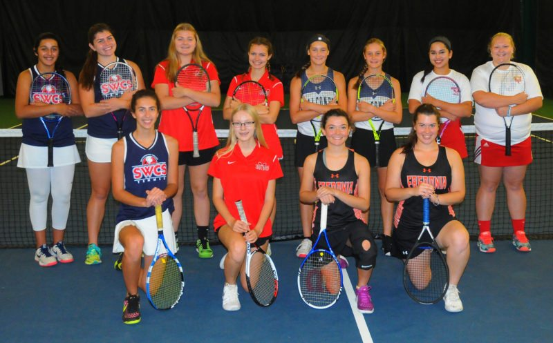 Photo by Scott Kindberg At right are the tennis players from the Chautauqua-Cattaraugus Athletic Association who have qualified for the Section VI Championships next week at the Miller Tennis Center in Williamsville. Kneeling are the singles qualifiers. From the left are Mikayla Johnson, Southwestern; Jenna Hayes, Maple Grove; Bernadette Gens, Fredonia; and Kelsey Vianese, Fredonia. Standing are the doubles qualifiers. From the left are Hiba Munir and Olivia Persia, Southwestern; Elise Swanson and Maddie Collins, Maple Grove; Nicole Youngberg and Macy Youngberg, Falconer; and Zayba Chauhdry and Kara Howard, Olean.