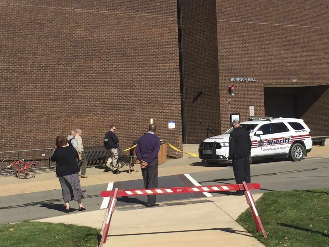 OBSERVER photo by Jimmy McCarthy A bomb threat evacuated SUNY Fredonia's Thompson Hall on Tuesday afternoon. The threat was revealed to be unfounded after K-9 units searched the building.