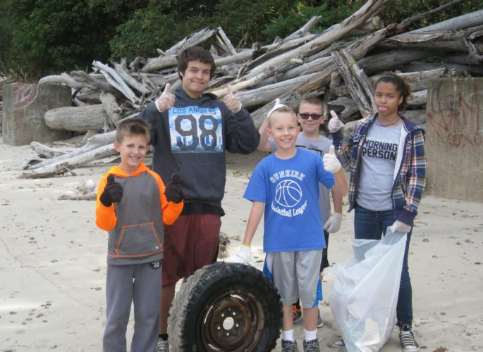 Submitted Photo The 70 students who participated in the Wright Park Beach Cleanup in October collected nearly 100 pounds of garbage. That's more than a pound of trash per pupil.