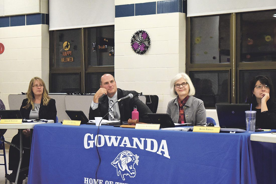 OBSERVER Photo by Andrew David Kuczkowski The Gowanda Board of Education listens to the community at Thursday's meeting. Pictured from left, Director of Finance Joelle Woodward, Superintendent James Klubek, Board President Cynthia Sutherland and Secretary Kathy Ferneza.