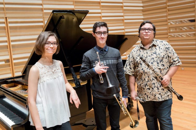 Submitted Photo Fredonia School of Music students are slated to perform at area libraries this Saturday. Pictured from left are Theresa Thordarson, piano; Evan Kirshen, trumpet; and Mateo Mendez, oboe.