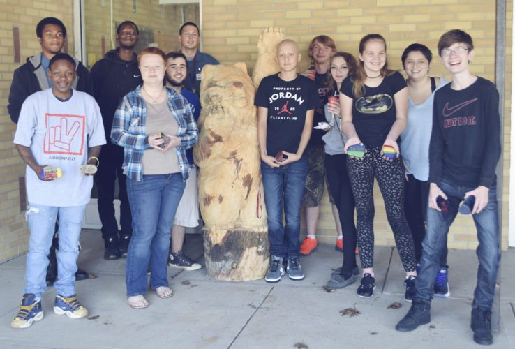 Submitted Photo Standing up for peace are Cassadaga Job Corps Academy students Stacey Clark, Wendy Newton, Keyon Brown-Cox, Shaimel Steadwell, and Daniel Fichter with Academy at Maple Avenue students Mitchell Harris (left of grizzly), Hector Navarro, Issaic Burnett, Justina Donner, Mercedez Hunzinger, Haven Donahue, and Kevin Cyga.
