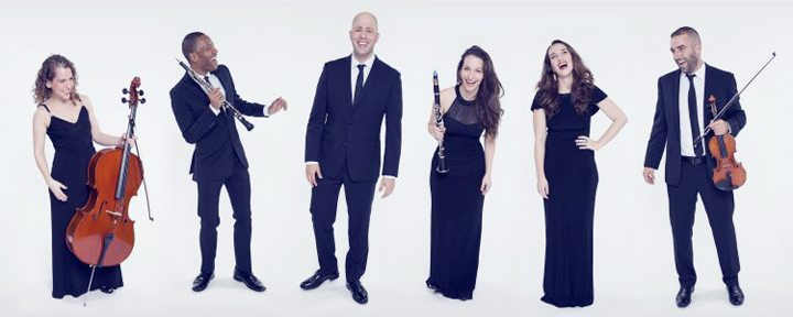 Submitted Photo The SHUFFLE Concert lineup of, from left, Sofia Nowik (cello), Hassan Anderson (oboe), Eliran Avni (piano), Moran Katz (clarinet), Ariadne Greif (soprano) and Brendan Speltz (violin) will perform in Fredonia's Rosch Recital Hall on Saturday, Oct. 28 at 8 p.m.