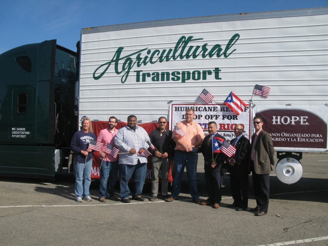 Pictured from left: Lisa Geiger with Agricultural Transport, Tim Vogt with Agricultural Transport, Edwin Lacen with Agricultural Transport, Dunkirk Special Events Coordinator Hector Rosas, Agricultural Transport owner Jacob Sam, Mayor Wilfred Rosas, City Clerk Edwin Ramos and Dunkirk attorney Richard Morrisroe.