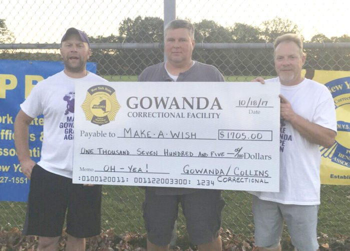 Submitted photo: The Gowanda Correctional Facility raised $1,705 with the help of Collins Correctional Facility on Wednesday after they hosted the Kool-Aid Classic. From left: Mike Morosey, Collins correctional; Tom Guest and Gary Wiest, Gowanda correctional.