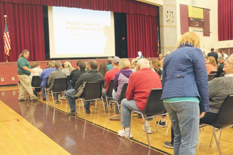 Photo by Jordan W. Patterson: Residents gathered recently to hear the results of a study that looked into the possible merger of Clymer and Panama schools.