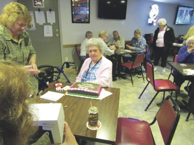"""Submitted Photo The Share and Care pinochle players celebrated Birdie Walczak's birthday at the Fredonia Beaver Club on Tuesday, Oct. 17. They sang their own version of the """"Happy Birthday"""" song to the honoree – """"Even though it's your birthday, we will still try to set you!"""""""
