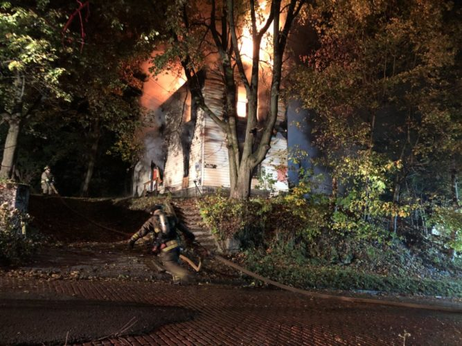 A vacant house fire this morning in Jamestown forced the closure of Route 394.