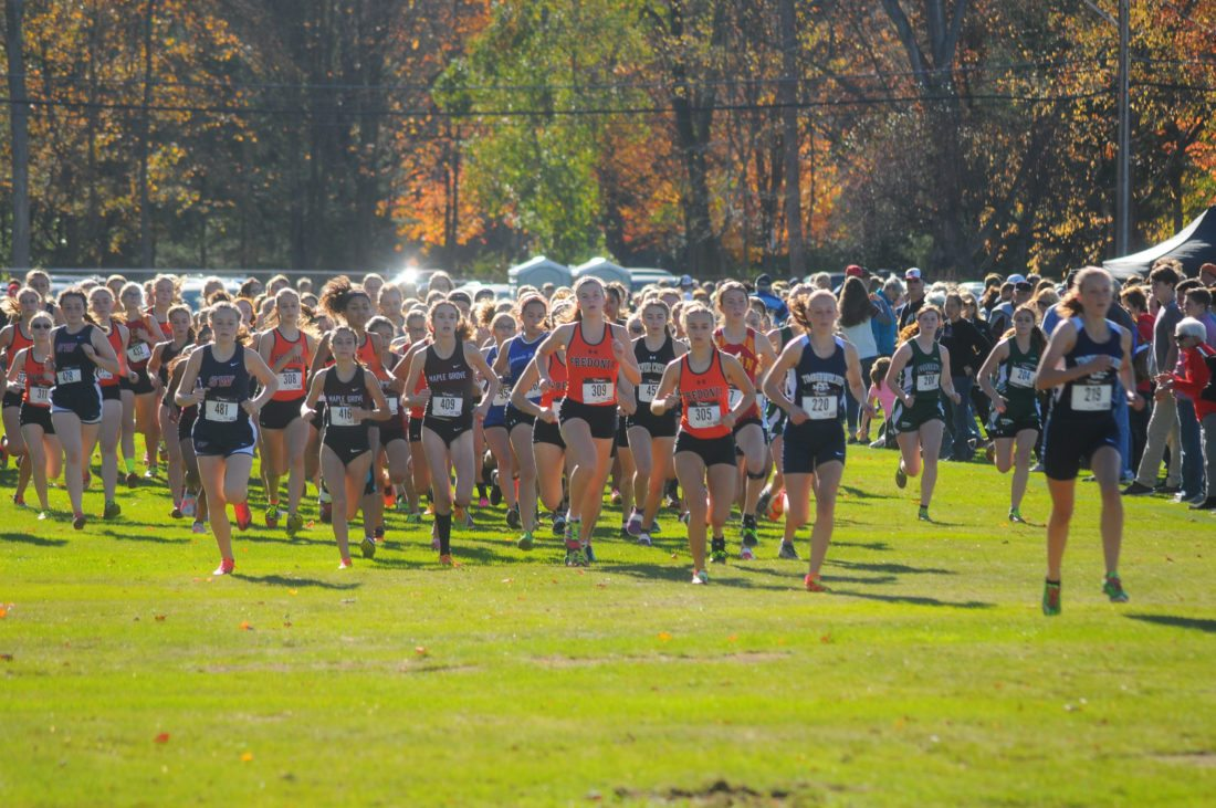 Photo by Matt Spielman The girls' race starts at the CCAA cross country championships Friday.