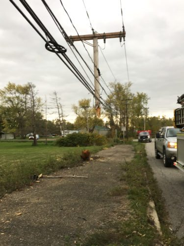 OBSERVER Photo by Gregory Bacon This is what remained of the utility pole after a truck hit it Monday around 11 a.m.