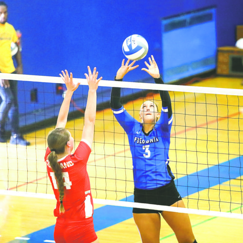 OBSERVER File Photo Fredonia Blue Devils senior Hallie Christopher sets the ball during a college volleyball match. Christopher was one of four Devils named to the All-SUNYAC team in volleyball for the season that just ended.