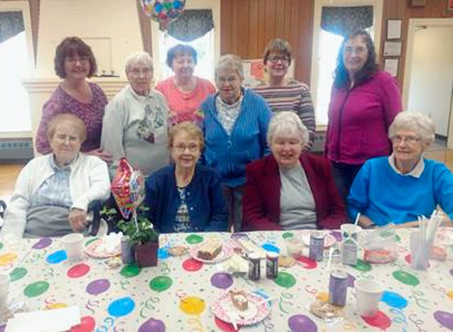 Submitted Photo Pictured from left in the back row are: Frankie Rothwell, Lucile Inwood, Jean Young, Roselyn Davies, Becky Blum and Pam Raymond. Front row: Mary Cogliano, Birthday Girl Dee Kaufman, Audrey Wilkinson and Sylvia Colby.