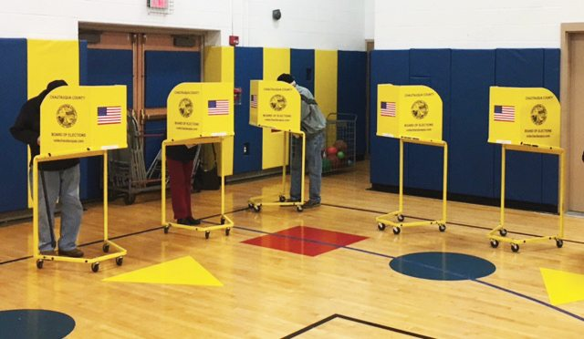 OBSERVER Photo Wheelock School in Fredonia had a steady stream of voters throughout Election Day.