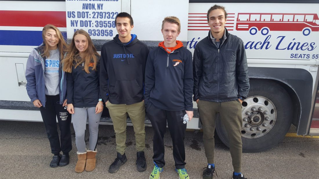 OBSERVER Photo by M.J. Stafford High school cross country athletes pose Friday before boarding a charter bus to the Rochester area for the state cross country championship meet scheduled for today. From left are Jaylah Cossin of Silver Creek, Emily Brown of Fredonia, Gowanda's Lyle Warrior and Fredonia's Josh Johnson and Diego Rey.
