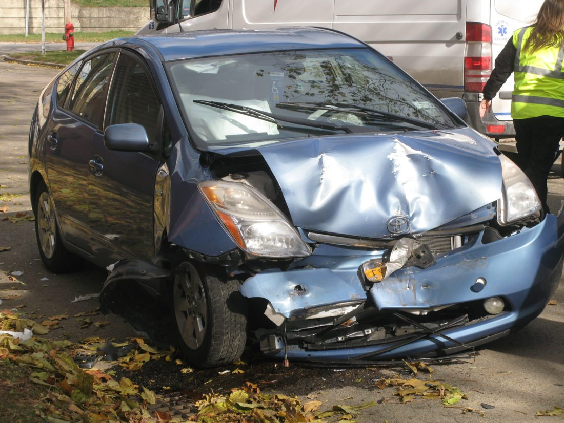 OBSERVER Photo by Gib Snyder The Dunkirk Fire and Police departments responded to a motor vehicle accident around 11 a.m. Friday on Washington Avenue. Officials said it appeared the driver had a medical emergency and crashed the vehicle into a parked vehicle. The driver complained of chest pains.