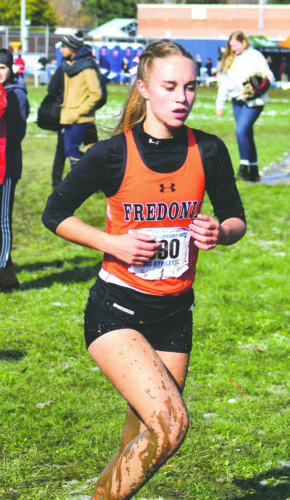 Submitted Photos Pictured above is Fredonia cross country runner Emily Brown competing at the New York State Class C cross country finals at Wayne Cental School in Ontario, NY.